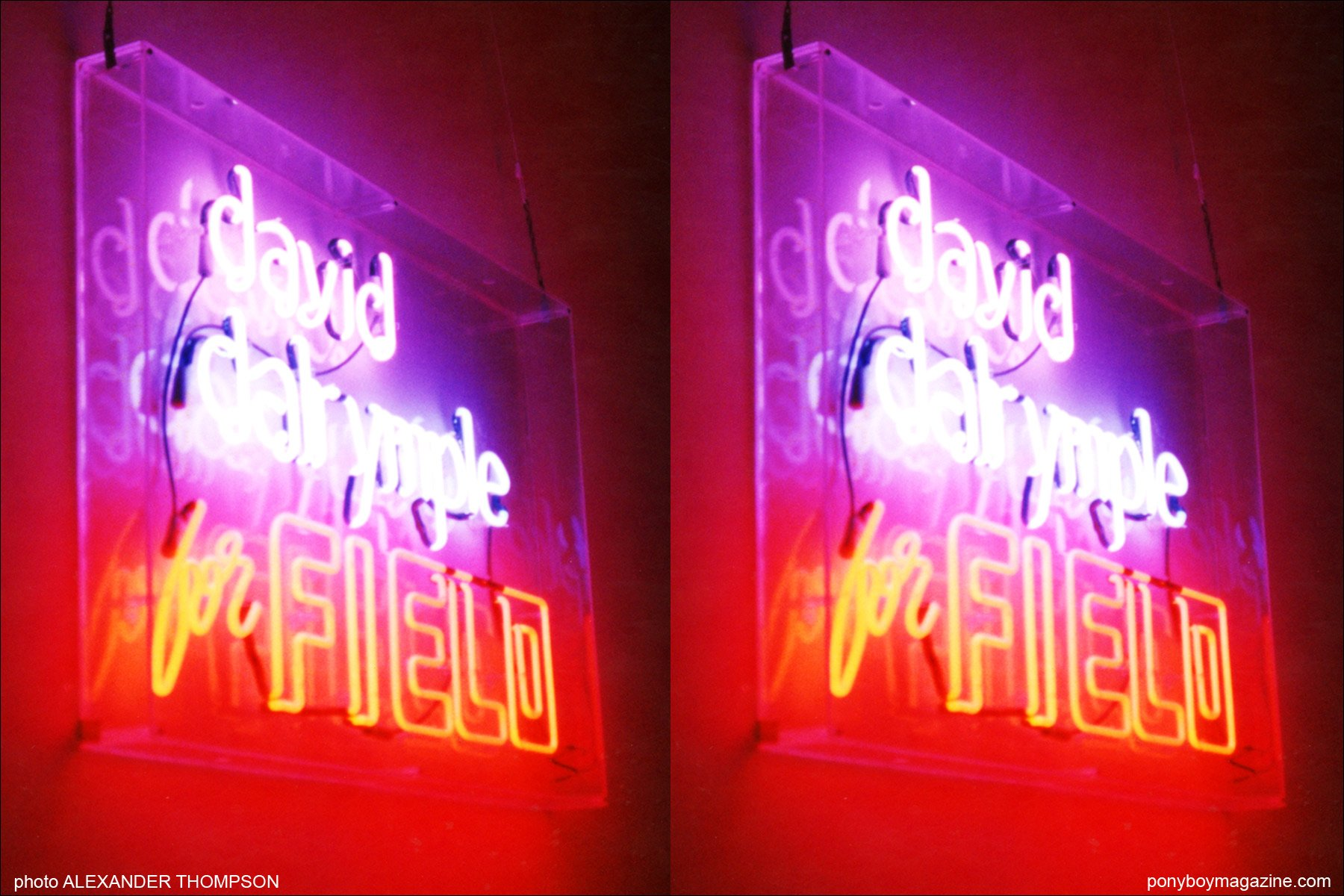 Neon sign for David Dalrymple collection for Patricia Field. Photograph by Alexander Thompson for Ponyboy Magazine.