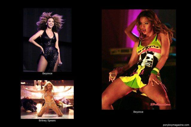 Beyonce and Britney Spears in custom David Dalrymple designs. Ponyboy Magazine.