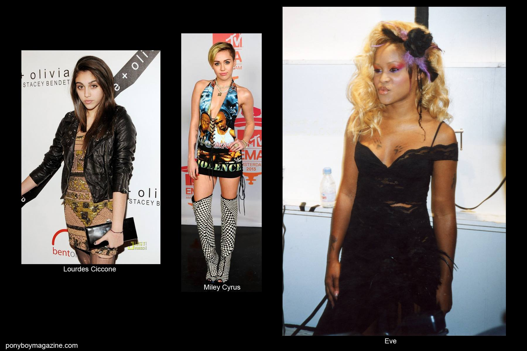 Lourdes Ciccone, Miley Cyrus and Eve all wearing David Dalrymple designs. Ponyboy Magazine.