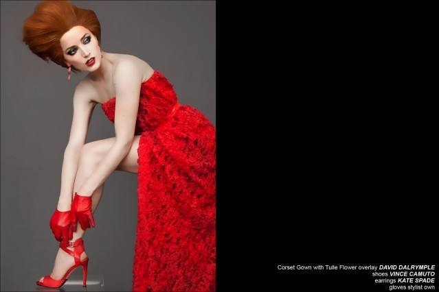 Red corset gown designed by David Dalrymple. Ponyboy Magazine.