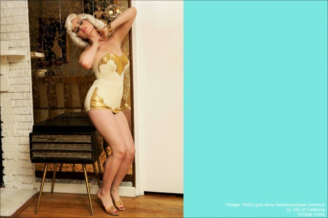 Doris Mayday photographed by Alexander Thompson in a vintage gold lame swimsuit from Crash The Party 1956. Photo by Alexander Thompson for Ponyboy Magazine.