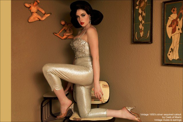 Doris Mayday photographed in a 50's silver catsuit by Alexander Thompson for Ponyboy Magazine.