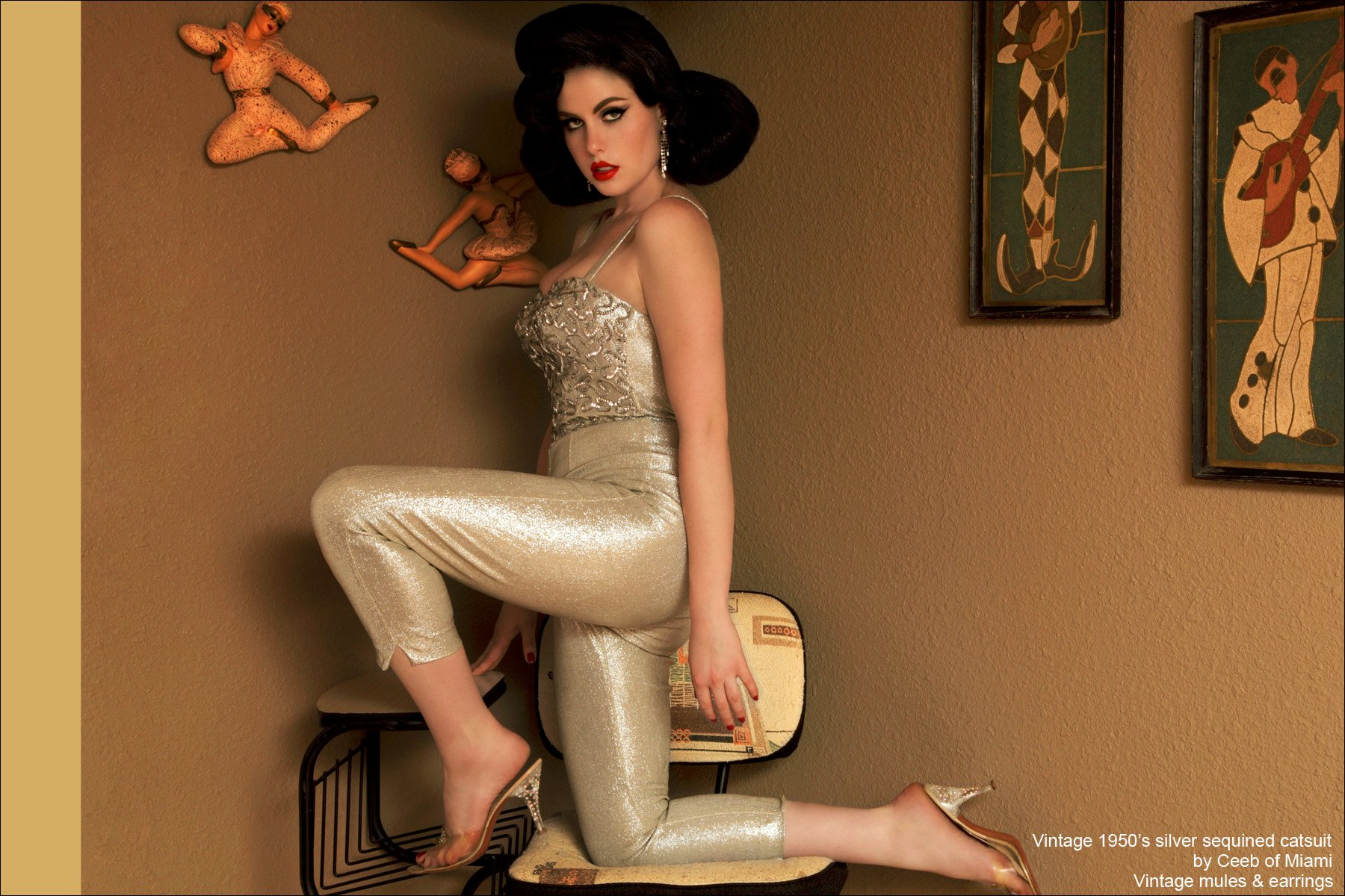 Doris Mayday photographed in a vintage 1950's silver catsuit. Photographed for Ponyboy Magazine by Alexander Thompson.