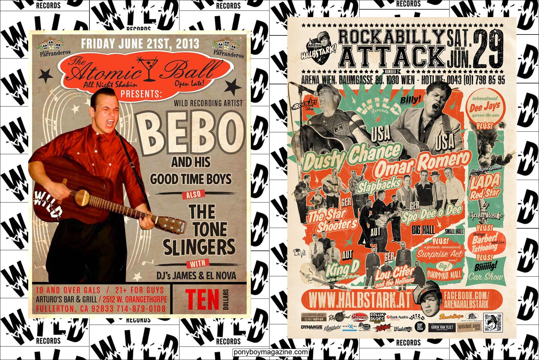 Flyers of Wild Records rockabilly acts. Ponyboy Magazine.