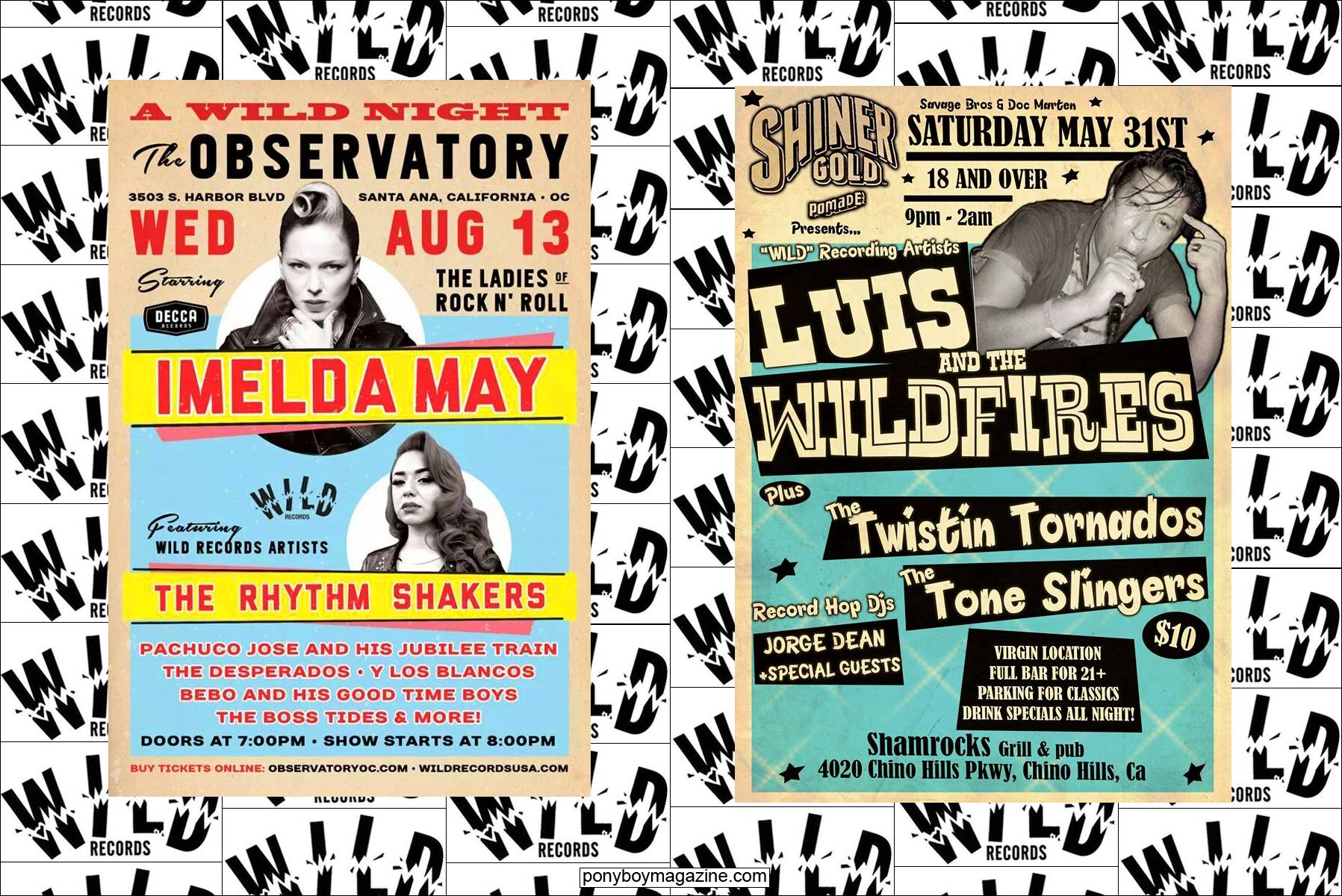 Flyers of rockabilly acts on the Wild Records label from Hollywood, CA. Ponyboy Magazine.