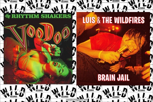 Flyers for The Rhythm Shakers and Luis & The Wildfires on the Wild Records label. Ponyboy Magazine.