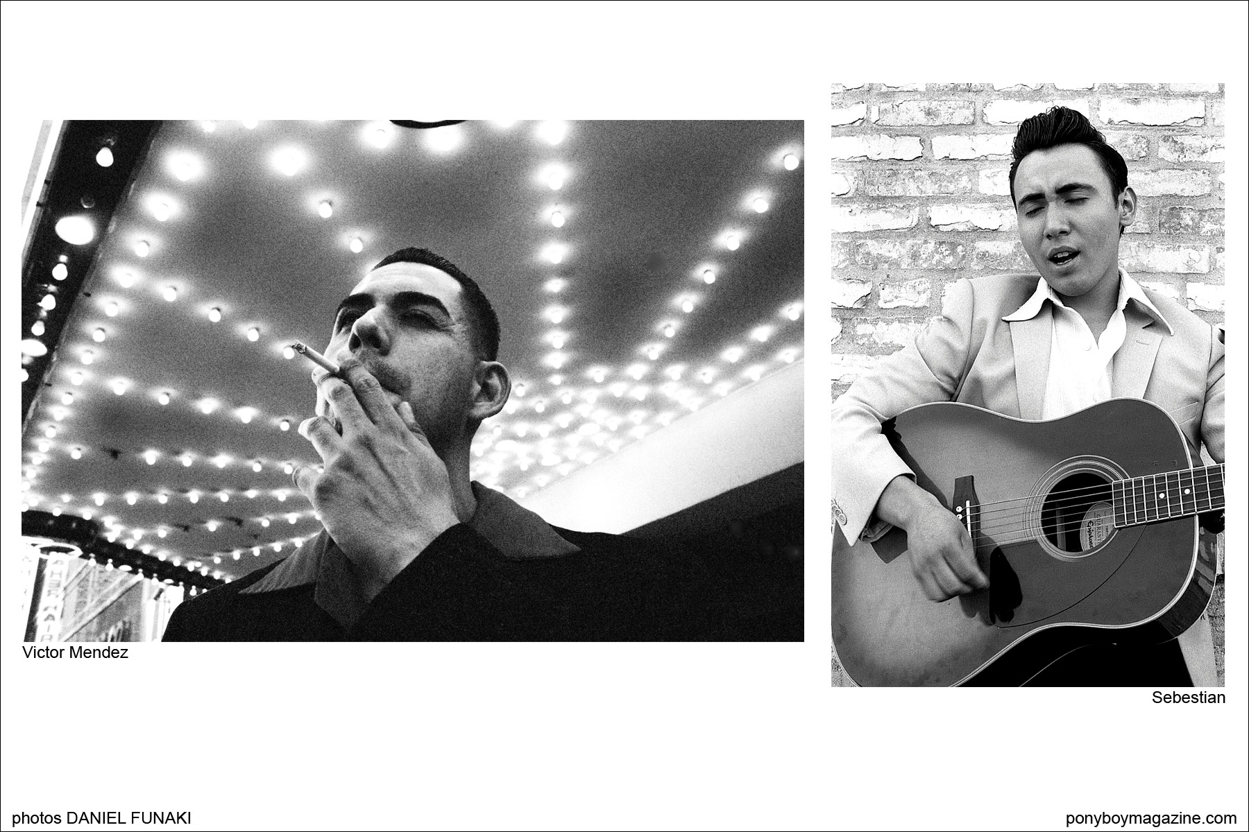Photographs of rockabilly musicians Victor Mendez and Sebestian, on the Wild Records label, by Daniel Funaki. Ponyboy Magazine.