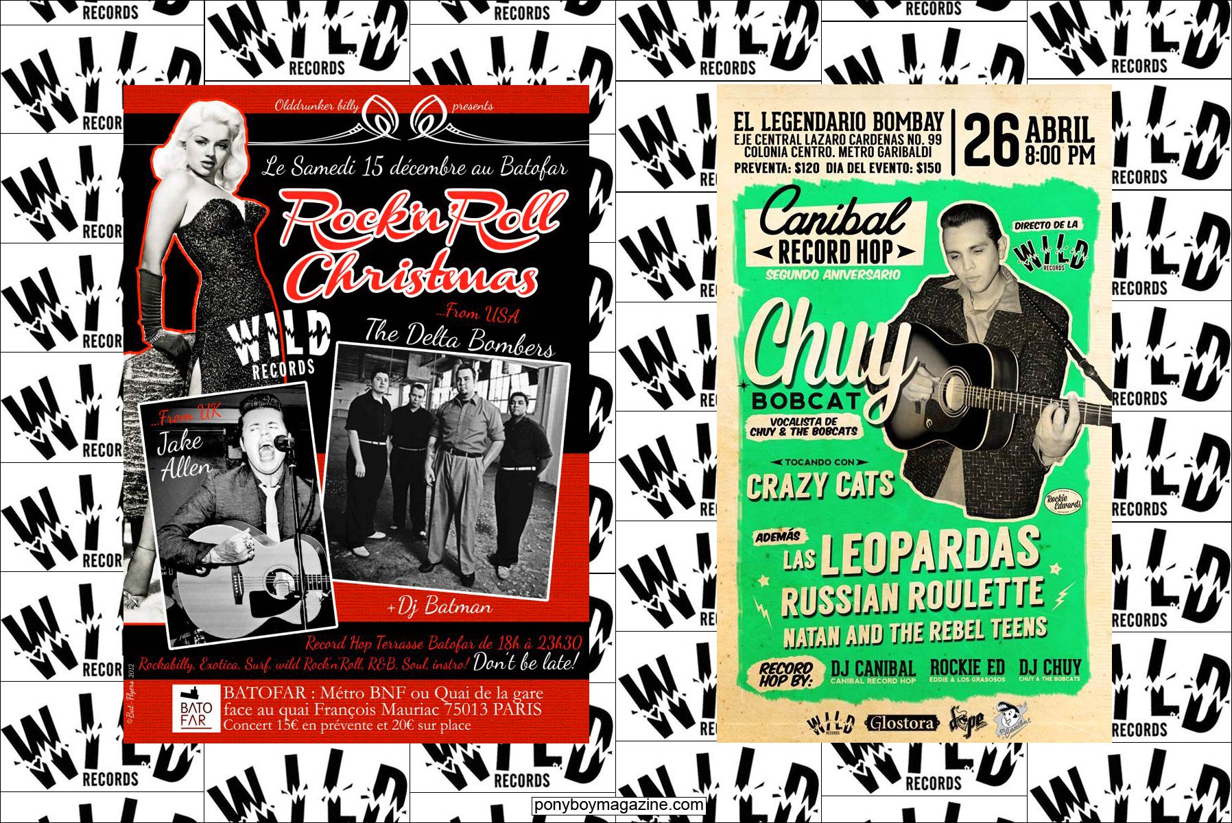 Flyers of rockabilly acts on the Wild Records label. Ponyboy Magazine.