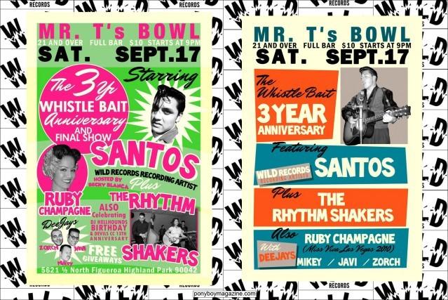 Flyers for Wild Record performer Santos. Ponyboy Magazine.