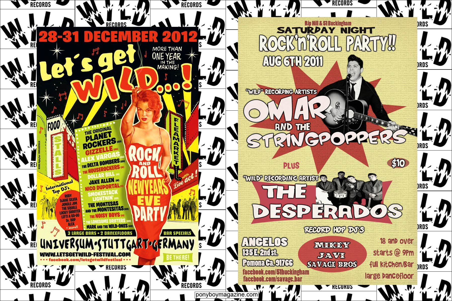 Flyers of rockabilly bands on the Wild Records label. Ponyboy Magazine.