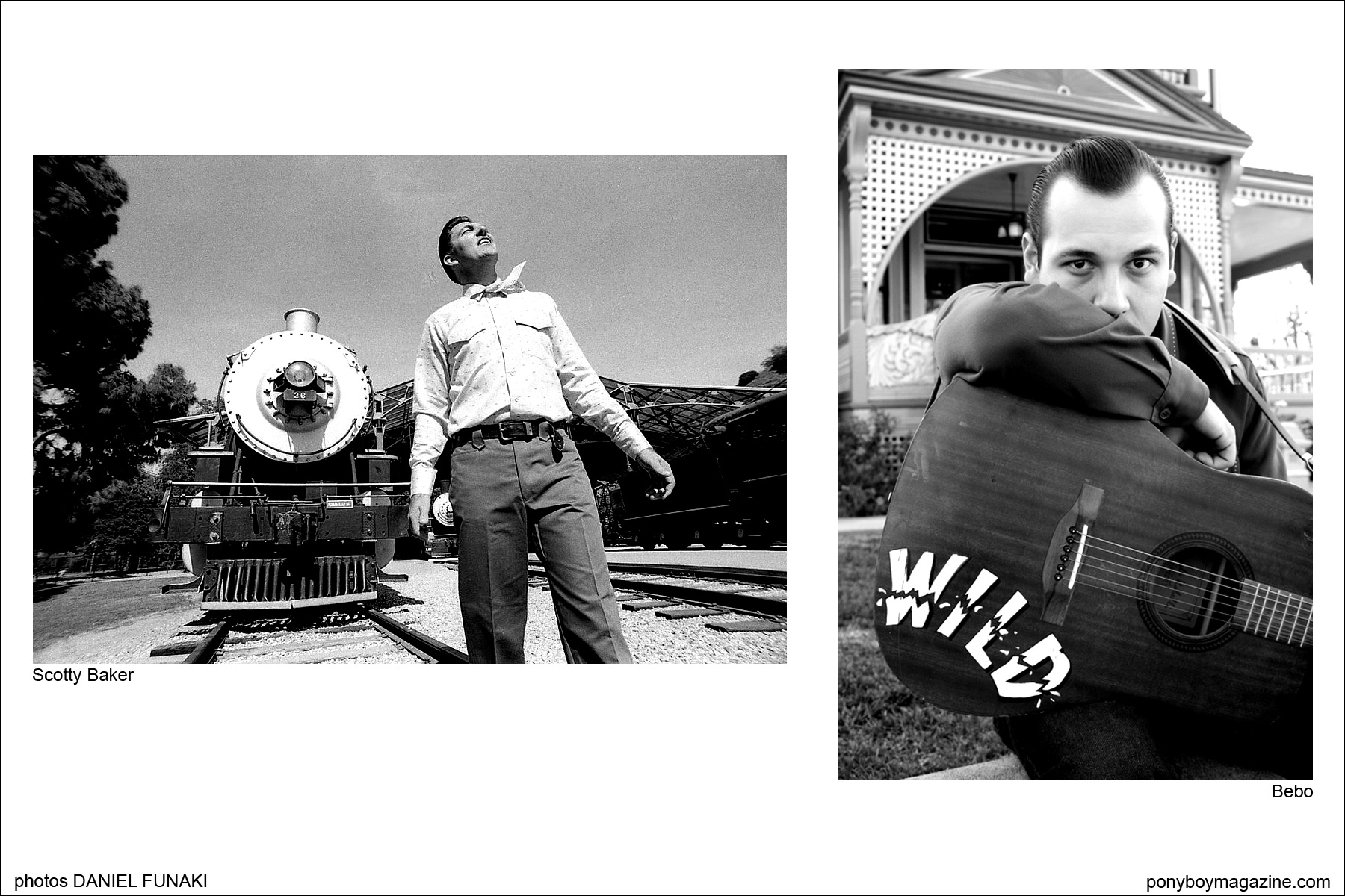 Photographs of Wild Records rockabilly talent Scotty Baker and Bebo, by Daniel Funaki. Ponyboy Magazine.