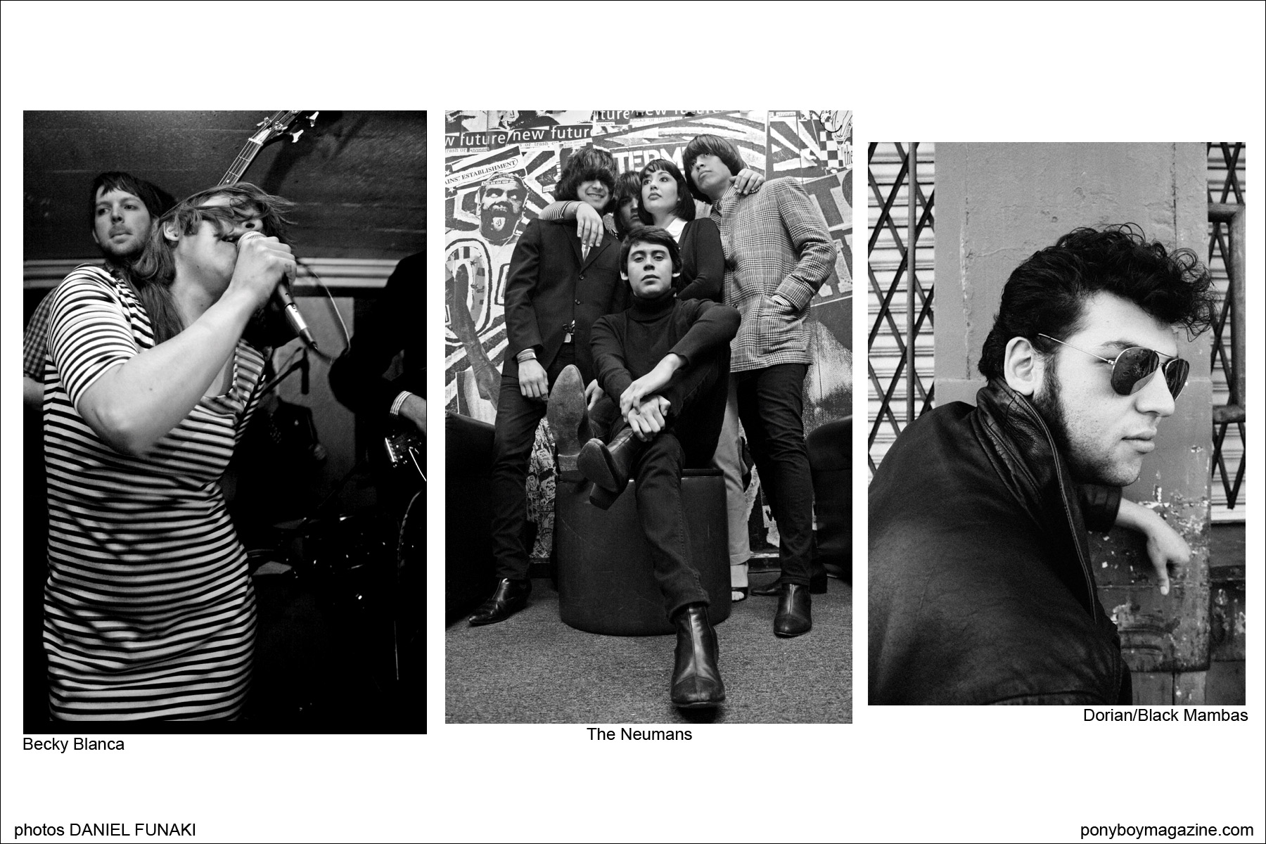 Photographs of Wild Records artist Becky Blanca, The Neumans and Dorian of Black Mambas by Daniel Funaki. Ponyboy Magazine.