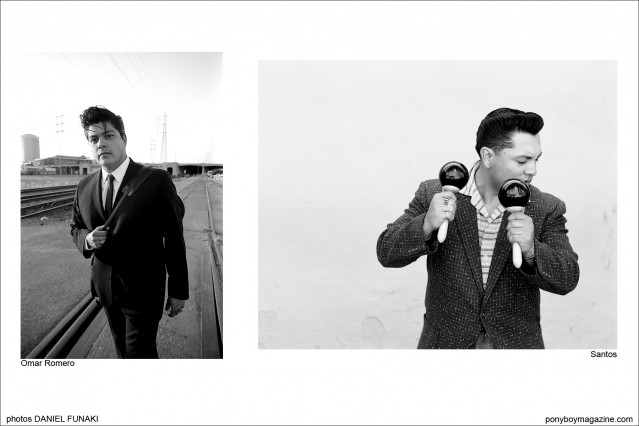 Rockabilly musicians on the WIld Records label Omar Romero and Santos. Photographed by Daniel Funaki. Ponyboy Magazine.