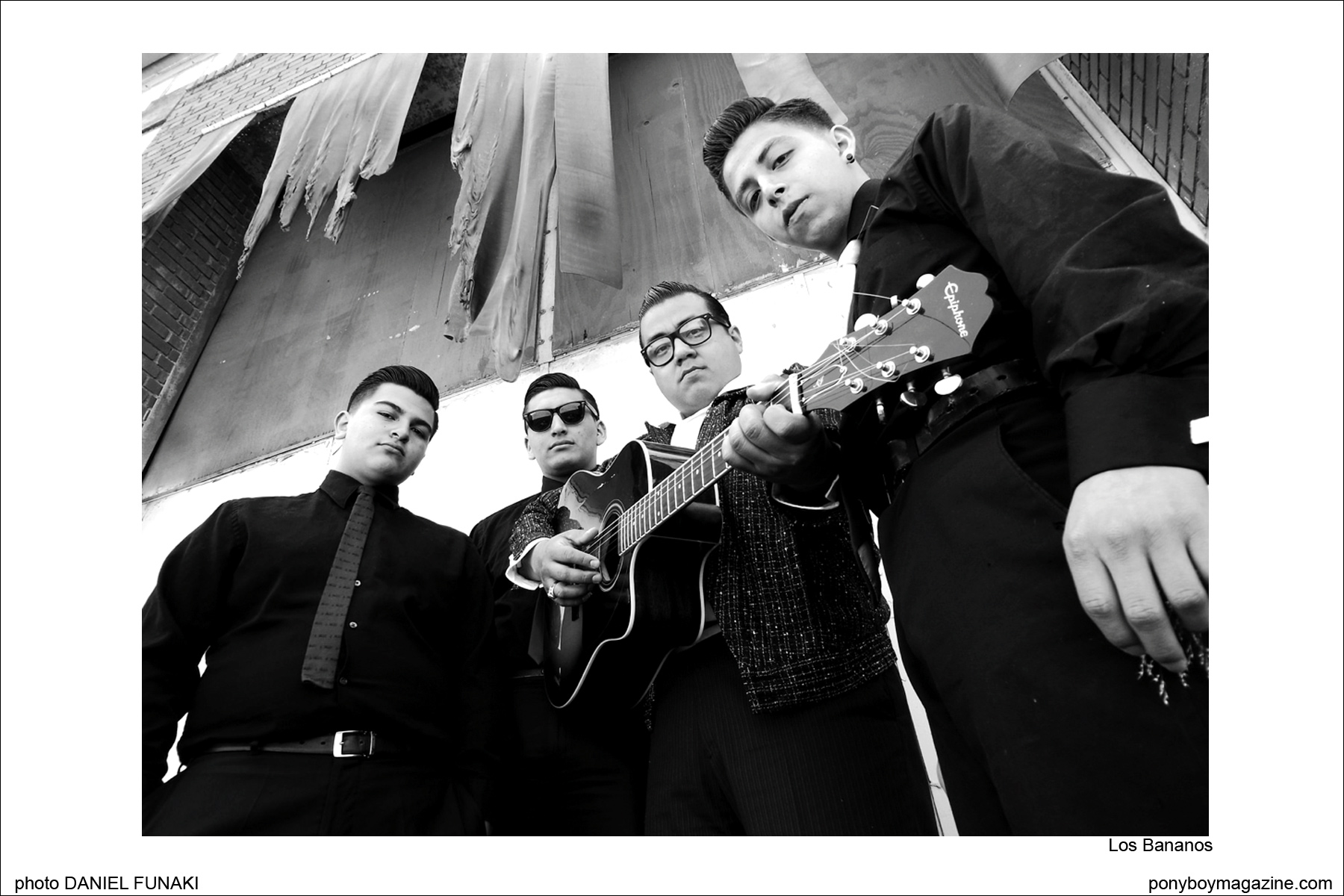 West Coast rockabilly band Los Bananos, on the Wild Records label. Photograph by Daniel Funaki. Ponyboy Magazine.