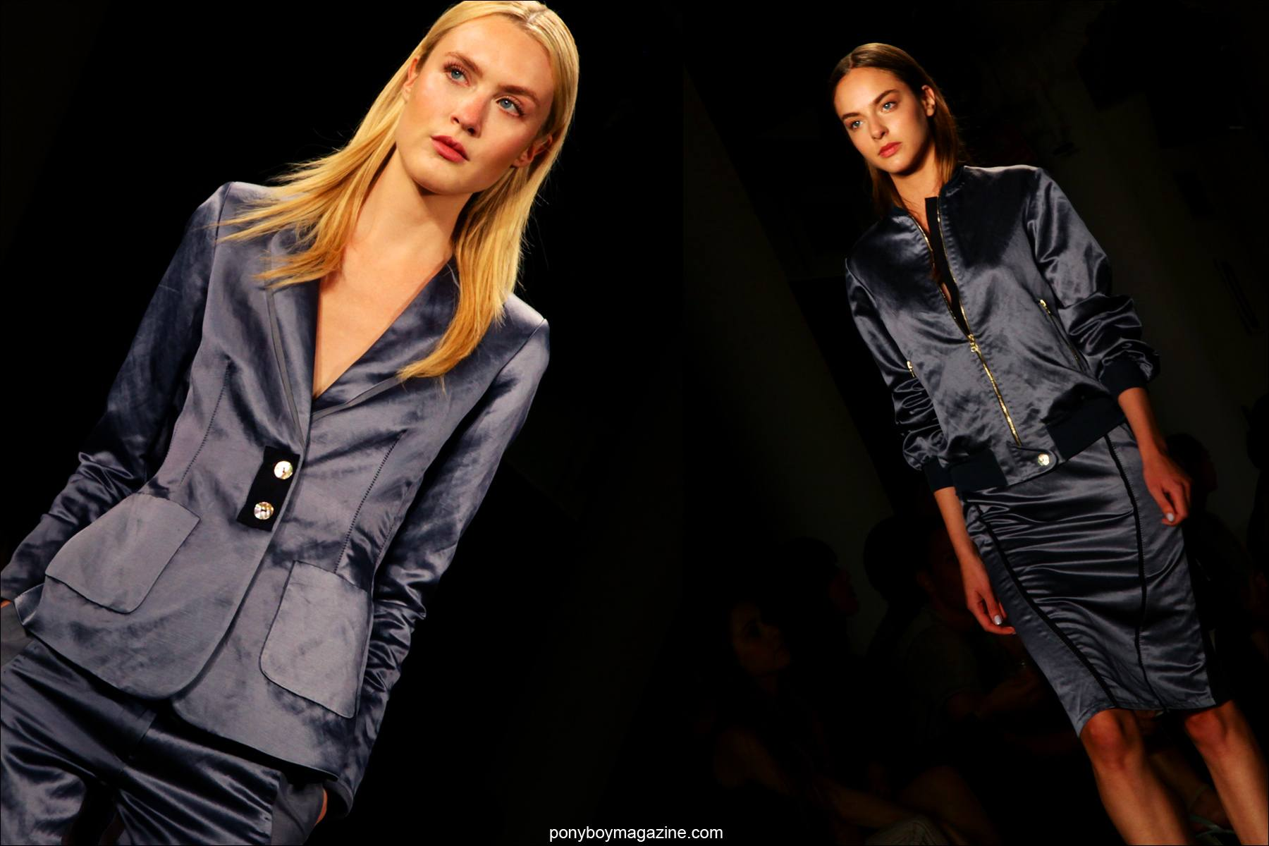 Blue satin on the runway at Costello Tagliapietra S/S 2015. Photos taken at Milk Studios by Alexander Thompson for Ponyboy Magazine.