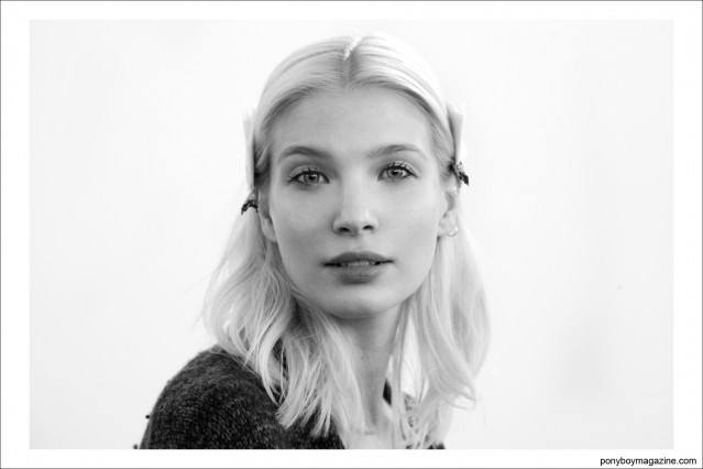 A blonde beauty snapped backstage by photographer Alexander Thompson for Ponyboy Magazine, Costello Tagliapietra S/S15.