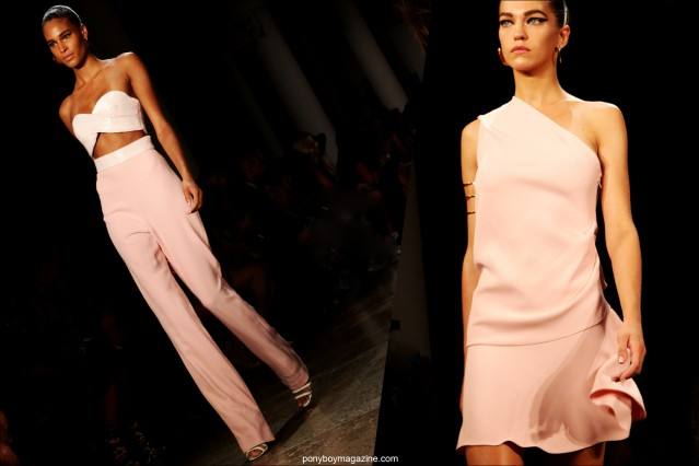 Models in pink Cushnie et Ochs S/S 2015 creations. Photographed by Alexander Thompson for Ponyboy Magazine.