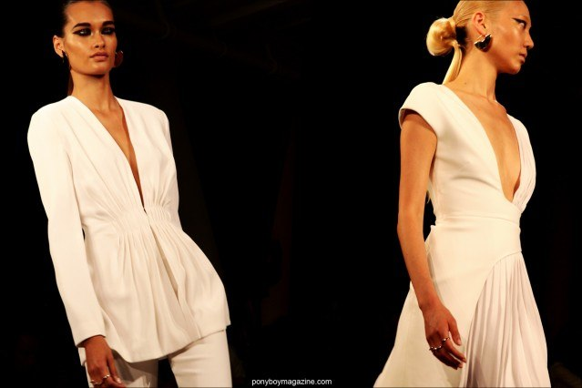 Models in white creations by Cushnie et Ochs S/S 2015. Photographed for Ponyboy Magazine by Alexander Thompson.
