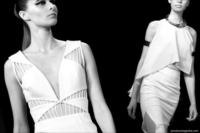 Details of white dresses by Cushnie et Ochs S/S 2015. Photographed by Alexander Thompson for Ponyboy Magazine.