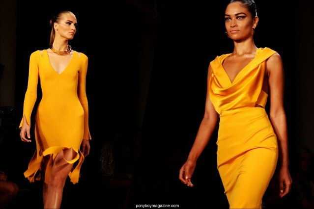 Models in yellow dresses on the runway at Milk Studios for Cushnie Et Ochs Spring/Summer 2015. Photographed by Alexander Thompson for Ponyboy Magazine.