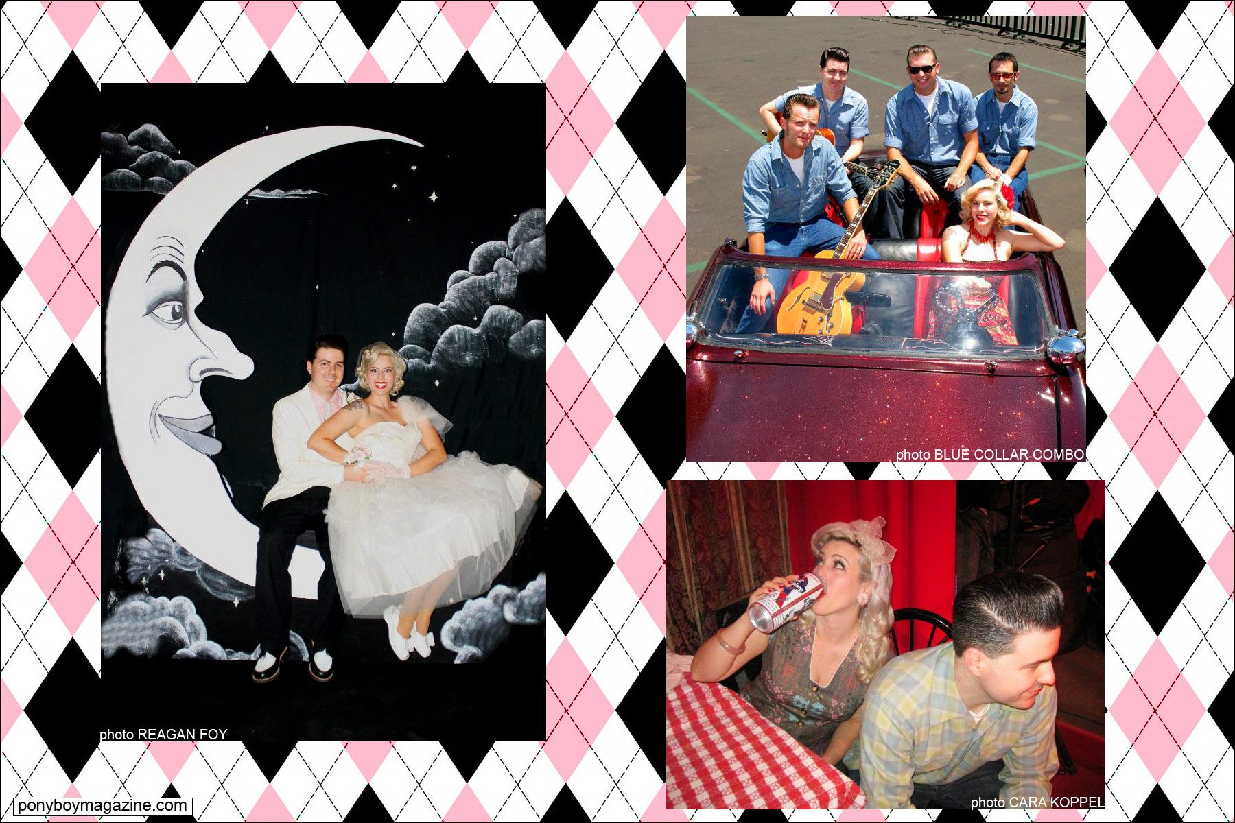 Assorted images of Dollie Deville, also known as The Rockabilly Socialite, with husband Zack Simpson. Ponyboy Magazine.