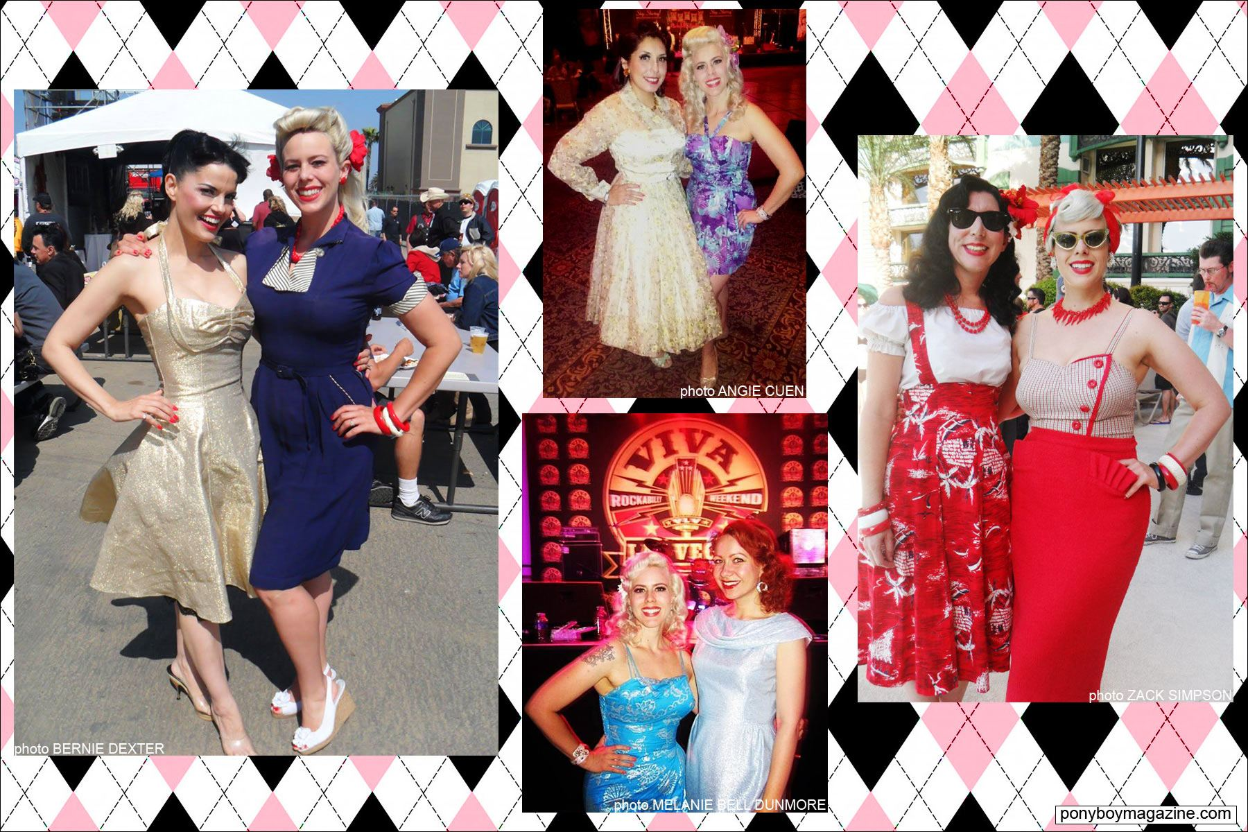 The Rockabilly Socialite, with various girlfriends at events. Ponyboy Magazine.
