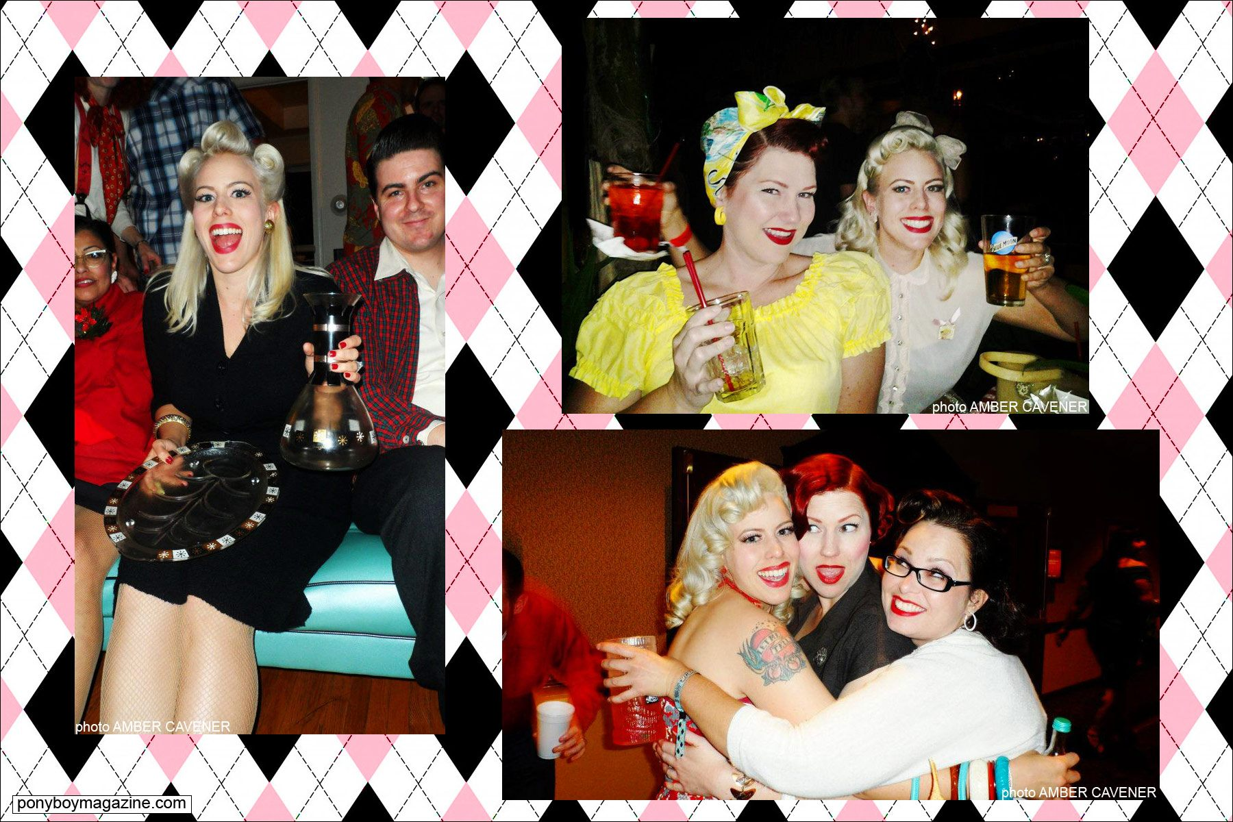 Dollie Deville, The Rockabilly Socialite, at various events with friends. Ponyboy Magazine.