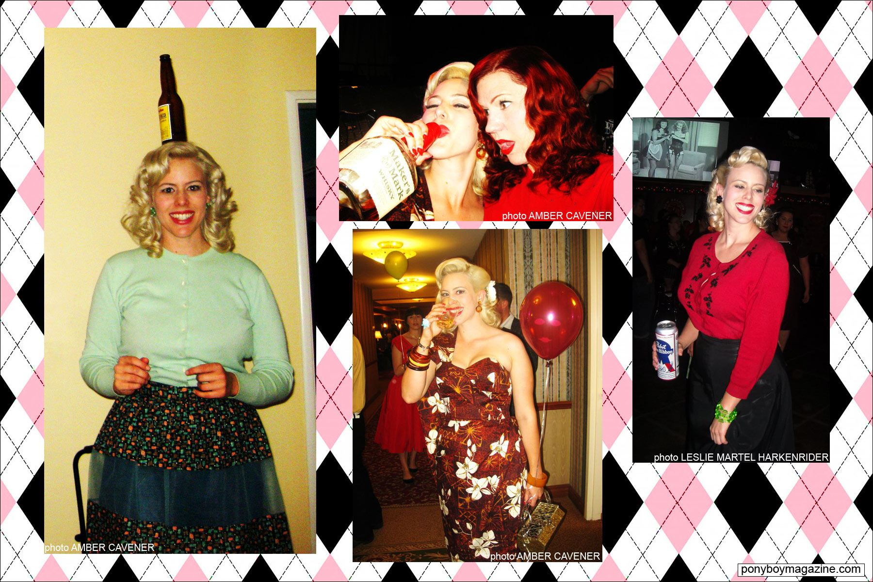 Assorted party images of The Rockabilly Socialite, Miss Dollie Deville. Ponyboy Magazine.