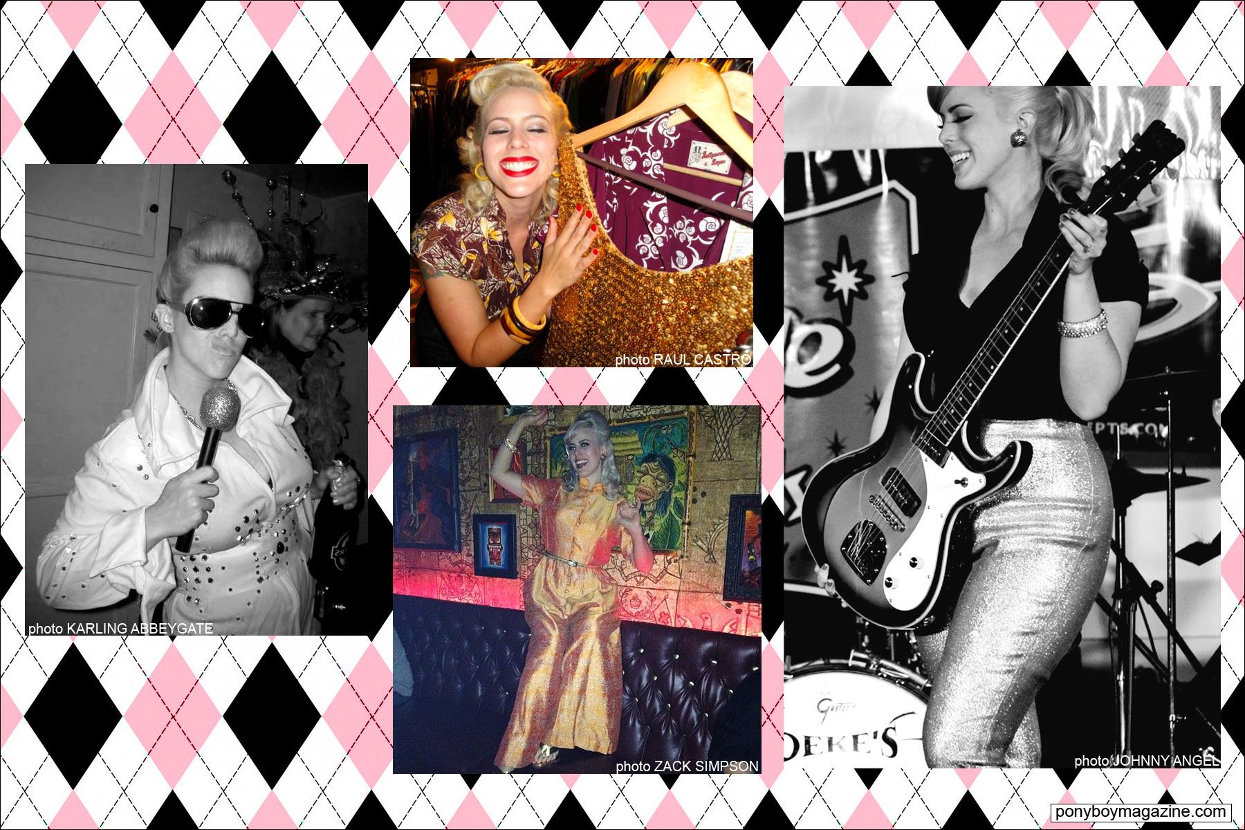 Assorted snapshots of The Rockabilly Socialite at various events. Ponyboy Magazine.