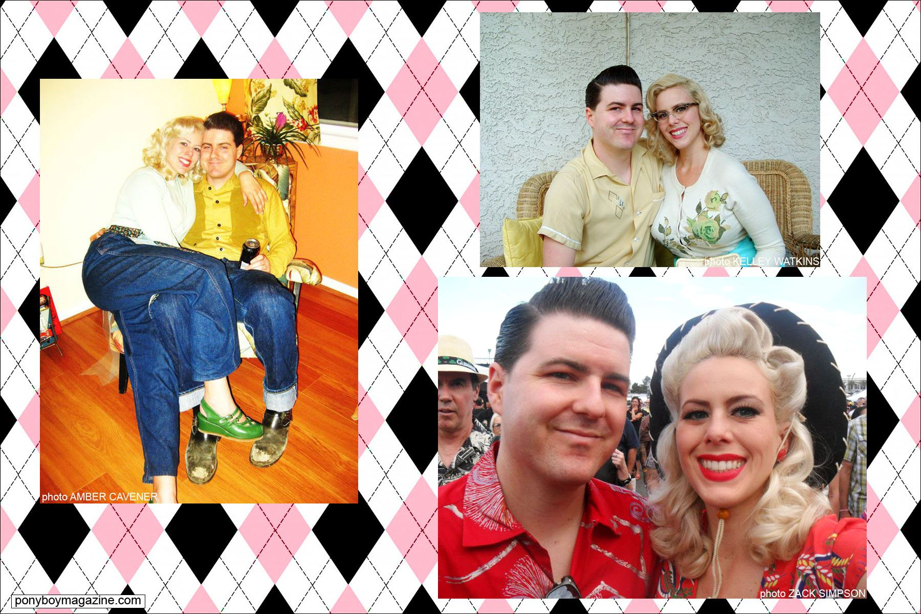Various photos of Miss Dollie Deville, also known as The Rockabilly Socialite, with husband Zack Simpson. Ponyboy Magazine.