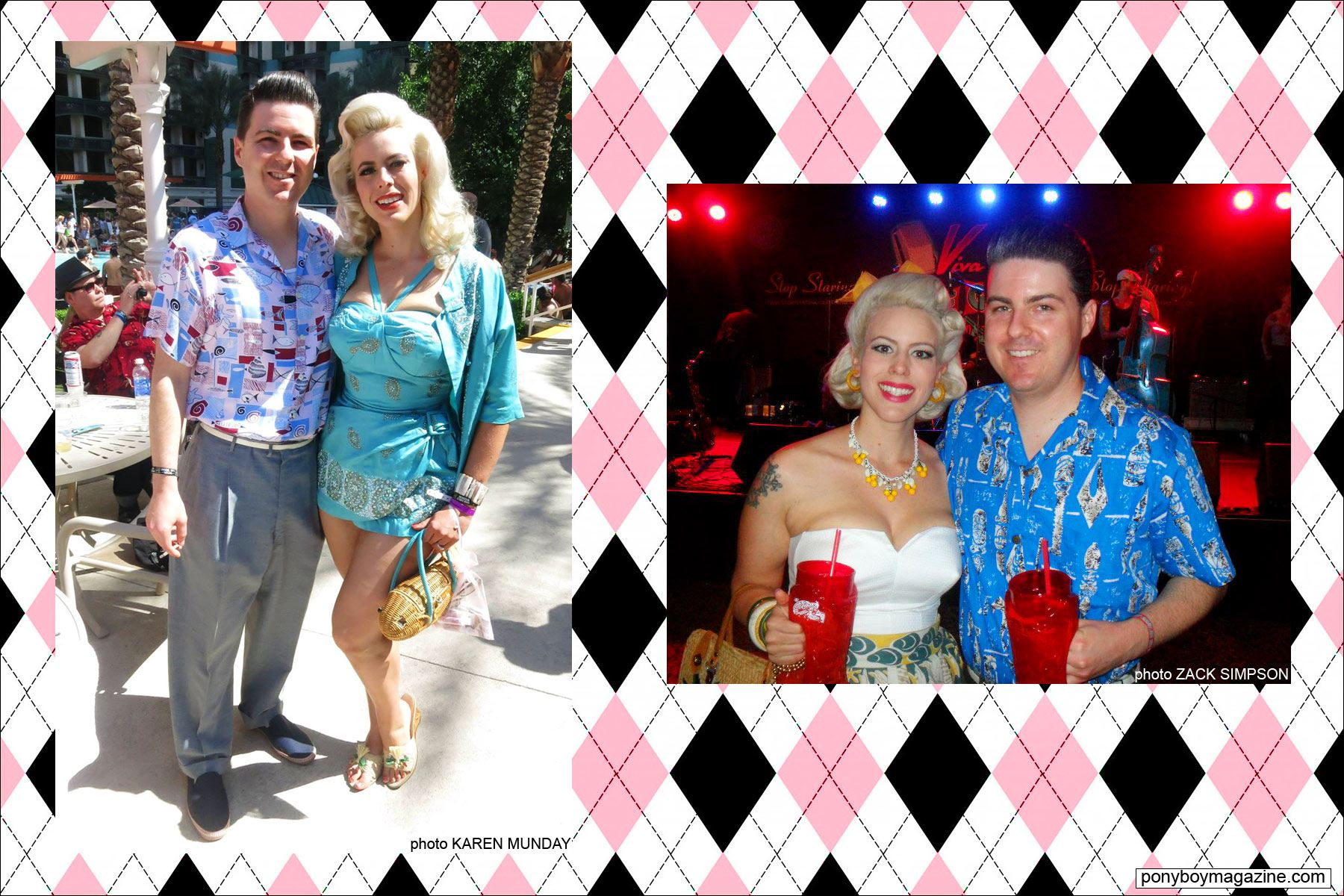 Photos of The Rockabilly Socialite at Viva Las Vegas with husband Zack Simpson. Ponyboy Magazine.