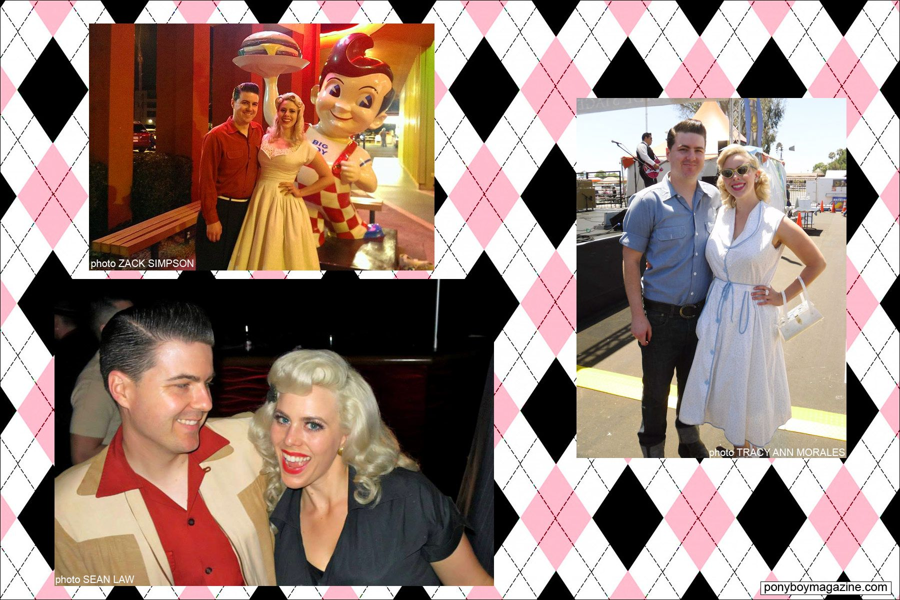 Miss Dollie Deville, The Rockabilly Socialite, with her husband Zack Simpson. Ponyboy Magazine.
