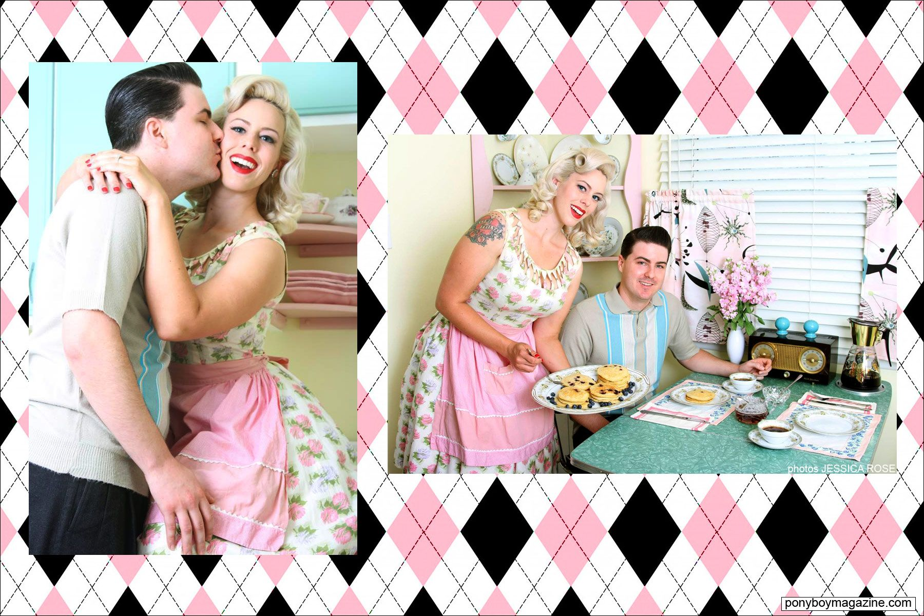Photos of Dollie Simpson, The Rockabilly Socialite, at home with husband Zack Simpson. Ponyboy Magazine.