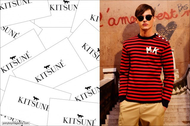 A male model in a striped t-shirt by Parisian design duo Maison Kitsune, Spring/Summer 2015. Photographed at New York City's Standard Hotel by Alexander Thompson for Ponyboy Magazine.