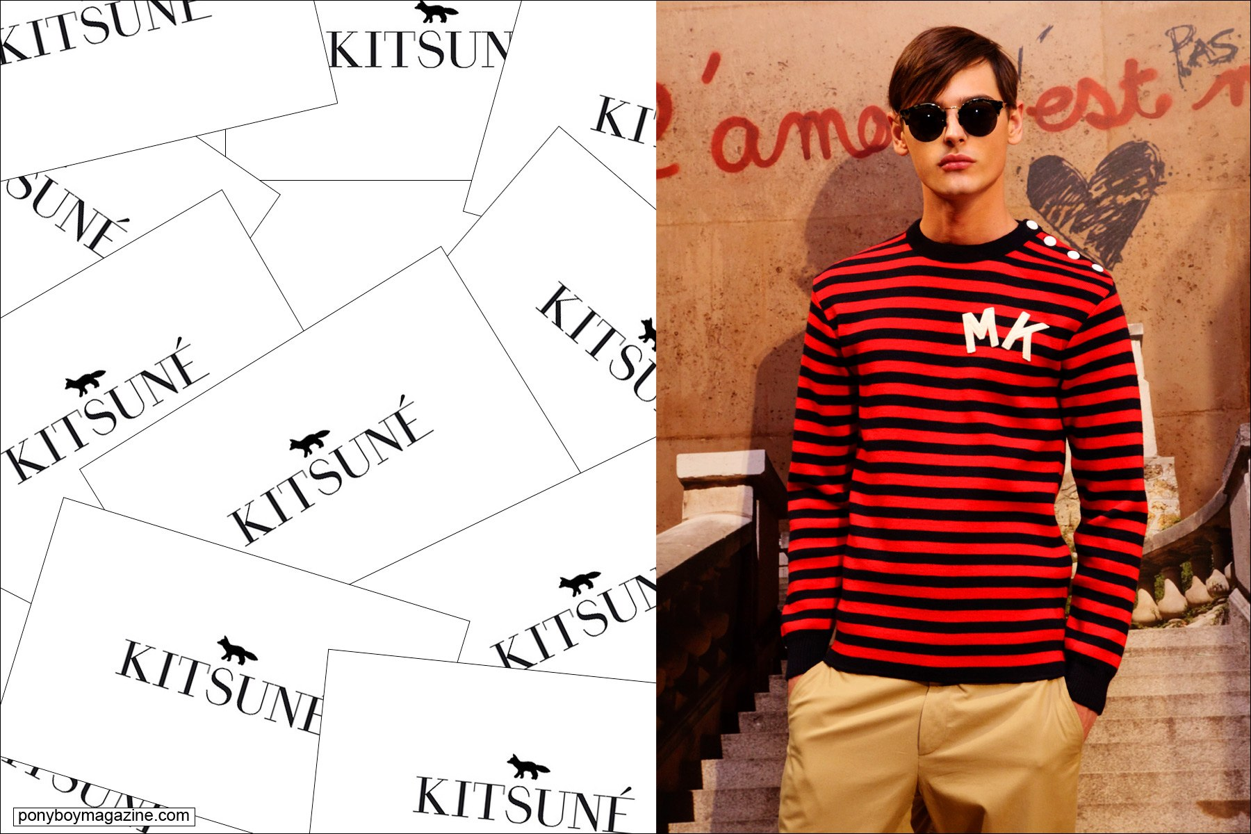 A male model wears a striped t-shirt by Maison Kitsune S/S15 collection. Photographed at NYC Standard Hotel by Alexander Thompson for Ponyboy Magazine.
