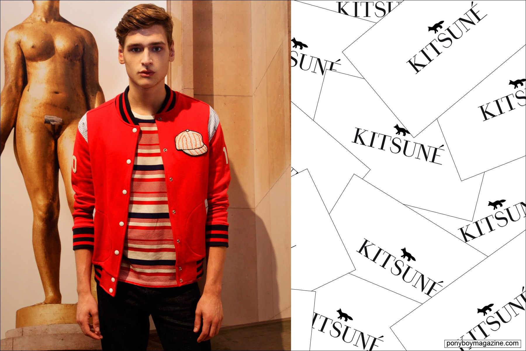 A male model wears a 1950's style letterman jacket designed by Maison Kitsune for Spring/Summer 2015. Photograph by Alexander Thompson for Ponyboy Magazine.