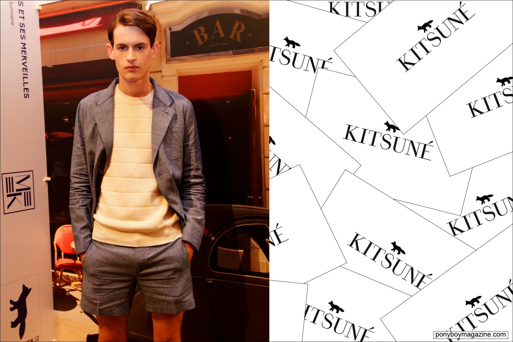 A male model in a grey short suit for Maison Kitsune S/S15 collection. Photo by Alexander Thompson for Ponyboy magazine.