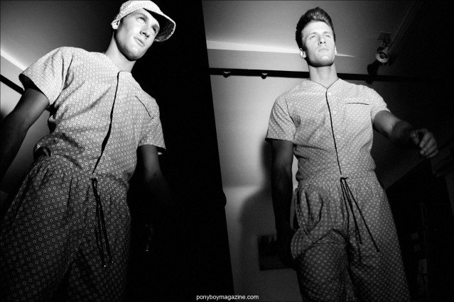 Male models in pajama style looks from the Martin Keehn Spring/Summer 2015 collection in New York City. Photographed for Ponyboy Magazine by Alexander Thompson.