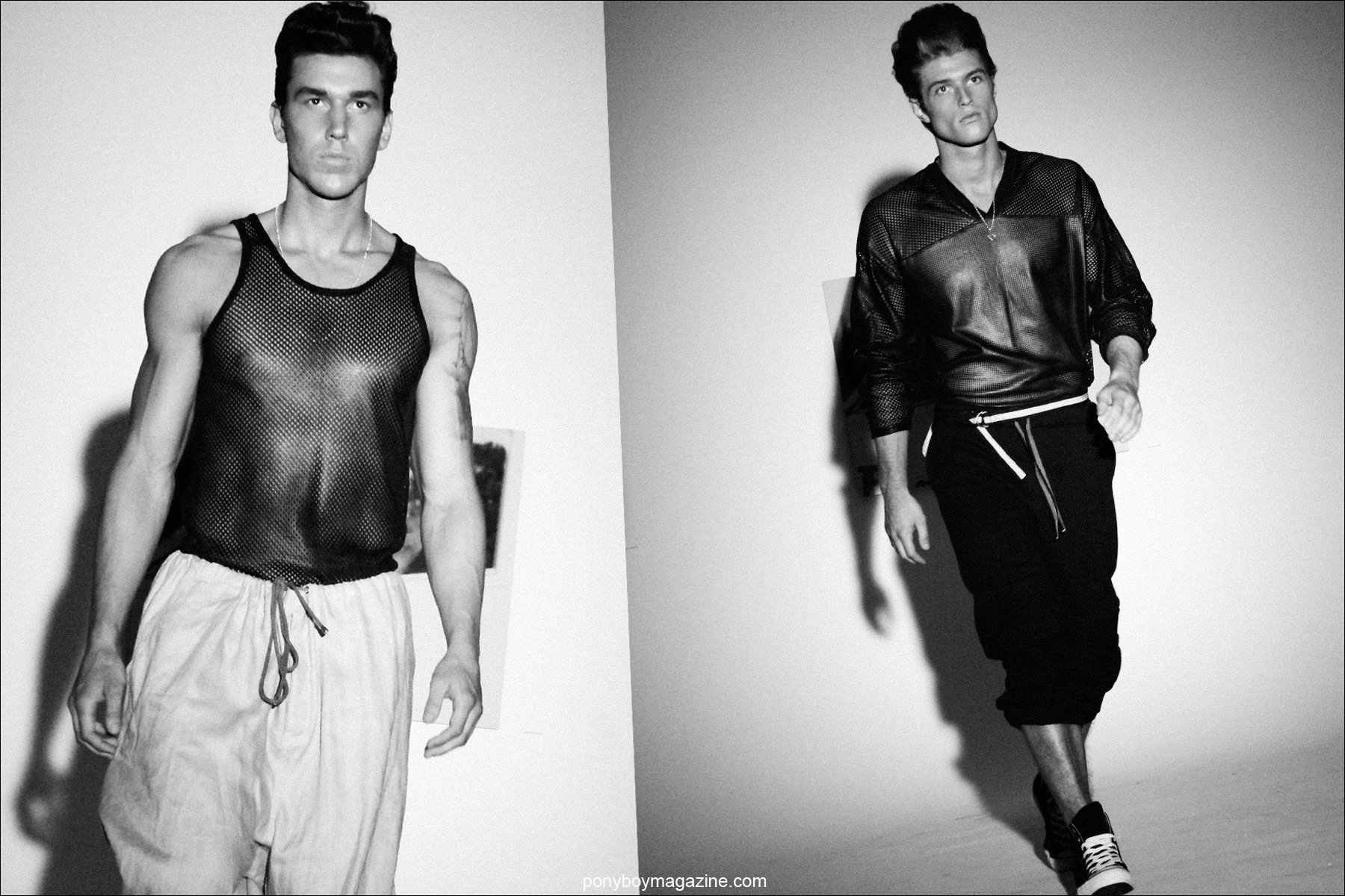 Male models in leather mesh shirts designed by Martin Keehn S/S 2015. Photographed by Alexander Thompson for Ponyboy Magazine.