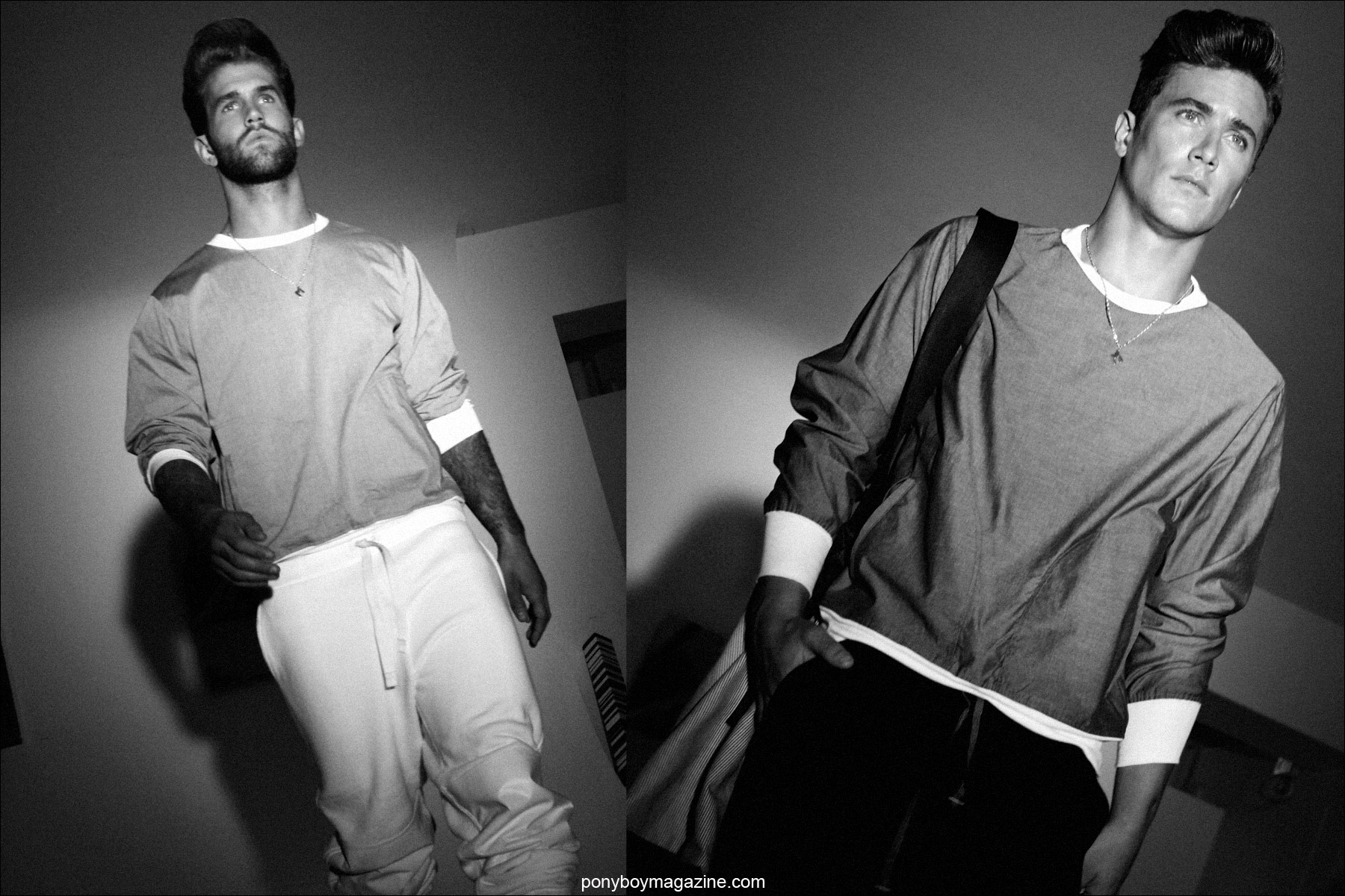 Male models in pullovers designed by Martin Keehn S/S15. Photo by Alexander Thompson for Ponyboy Magazine.