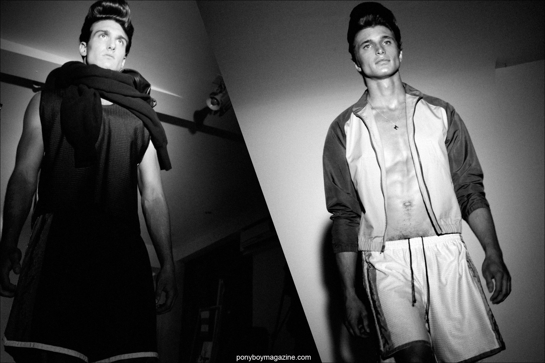 Male models in athletic inspired clothing designed by Martin Keehn Spring/Summer 2015 presented in New York City. Photographed by Alexander Thompson for Ponyboy Magazine.