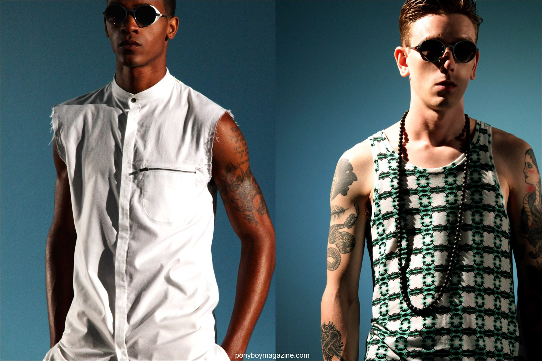 Male models in sleeveless shirts at Rochambeau S/S15 presentation at Milk Studios. Photographs by Alexander Thompson for Ponyboy Magazine.