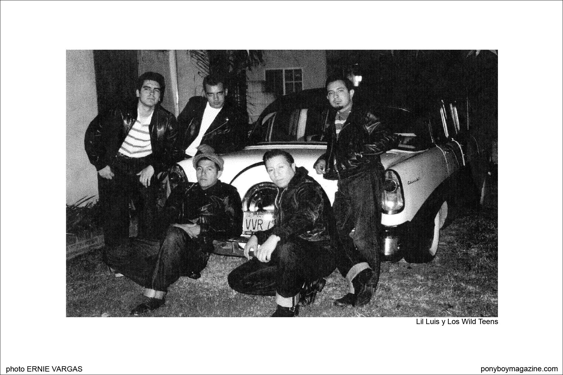 Photo of Wild Records original rockabilly band Lil Luis y Los Wild Teens by Daniel Funaki. Ponyboy Magazine.