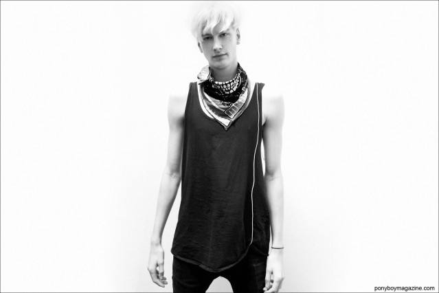 British model Benjamin Jarvis, photographed backstage at Duckie Brown S/S15 by Alexander Thompson for Ponyboy Magazine.