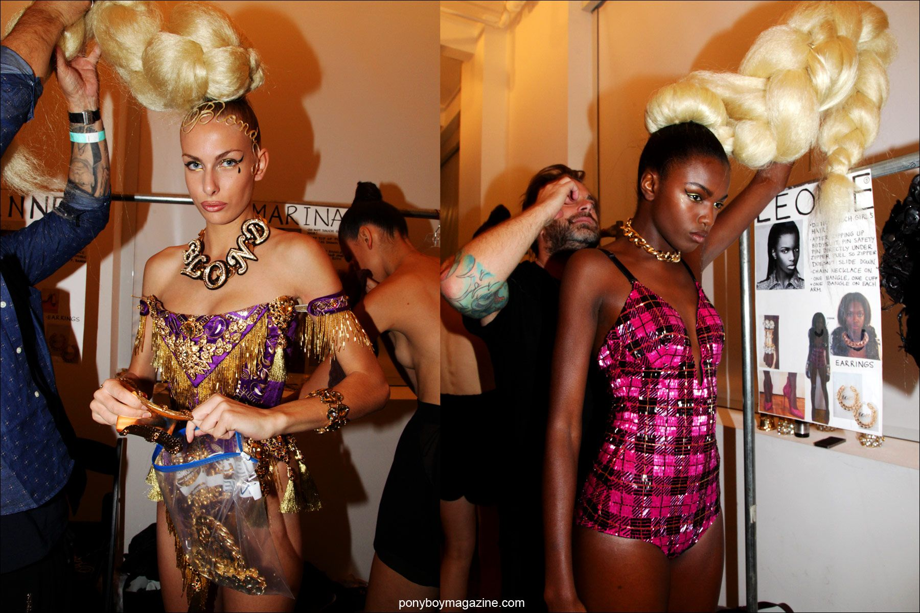 Models photographed after the show, backstage at the Blonds S/S15 show in New York. Photos by Alexander Thompson for Ponyboy Magazine.