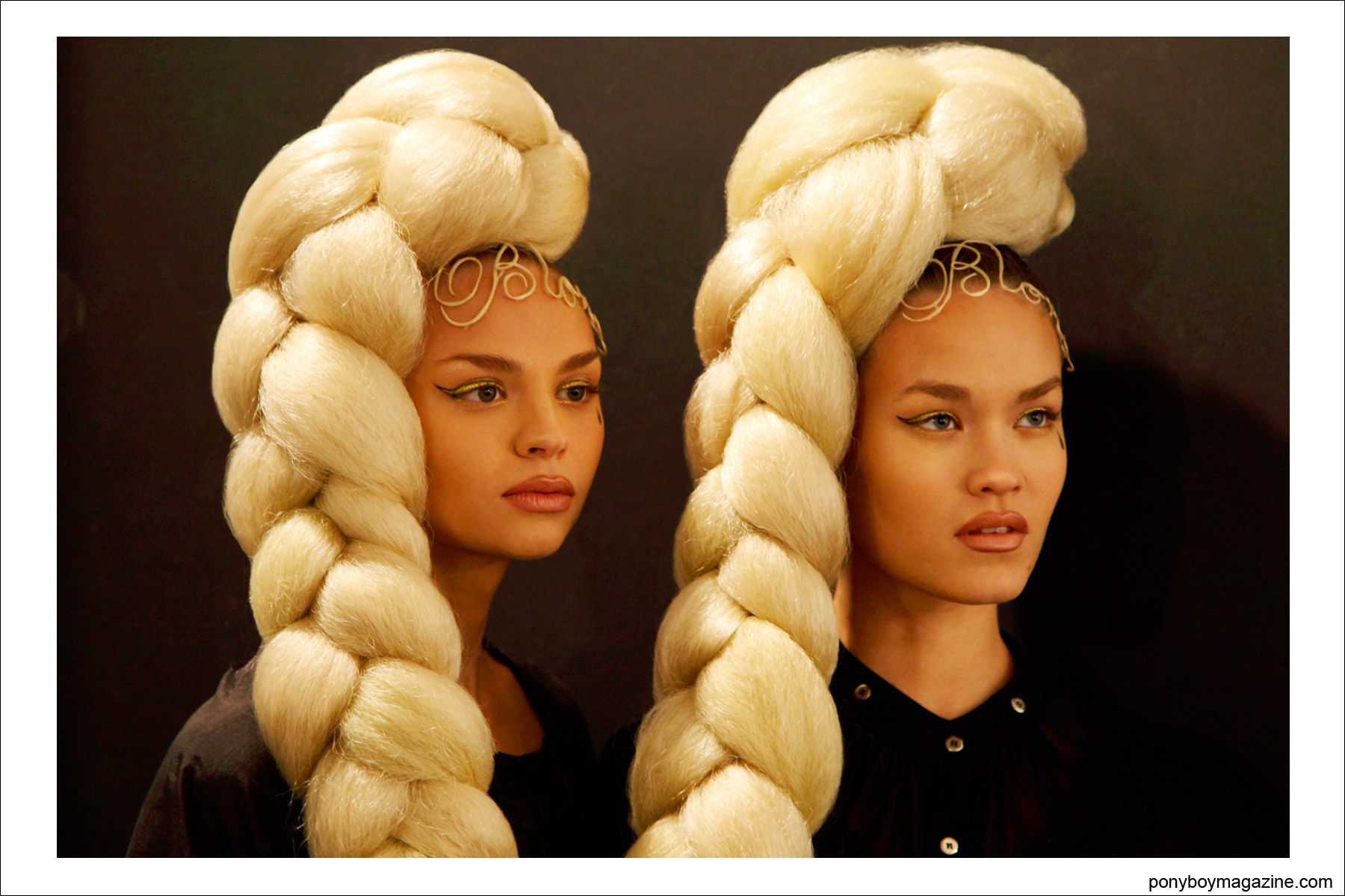 Portrait of two beautiful models, backstage at The Blonds S/S15 in New York City. Photograph by Alexander Thompson for Ponyboy Magazine.