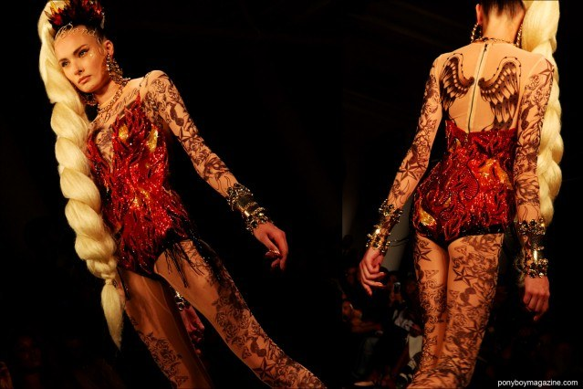 A bejeweled bodysuit at The Blonds S/S15. Photographed at Milk Studios by Alexander Thompson for Ponyboy Magazine.