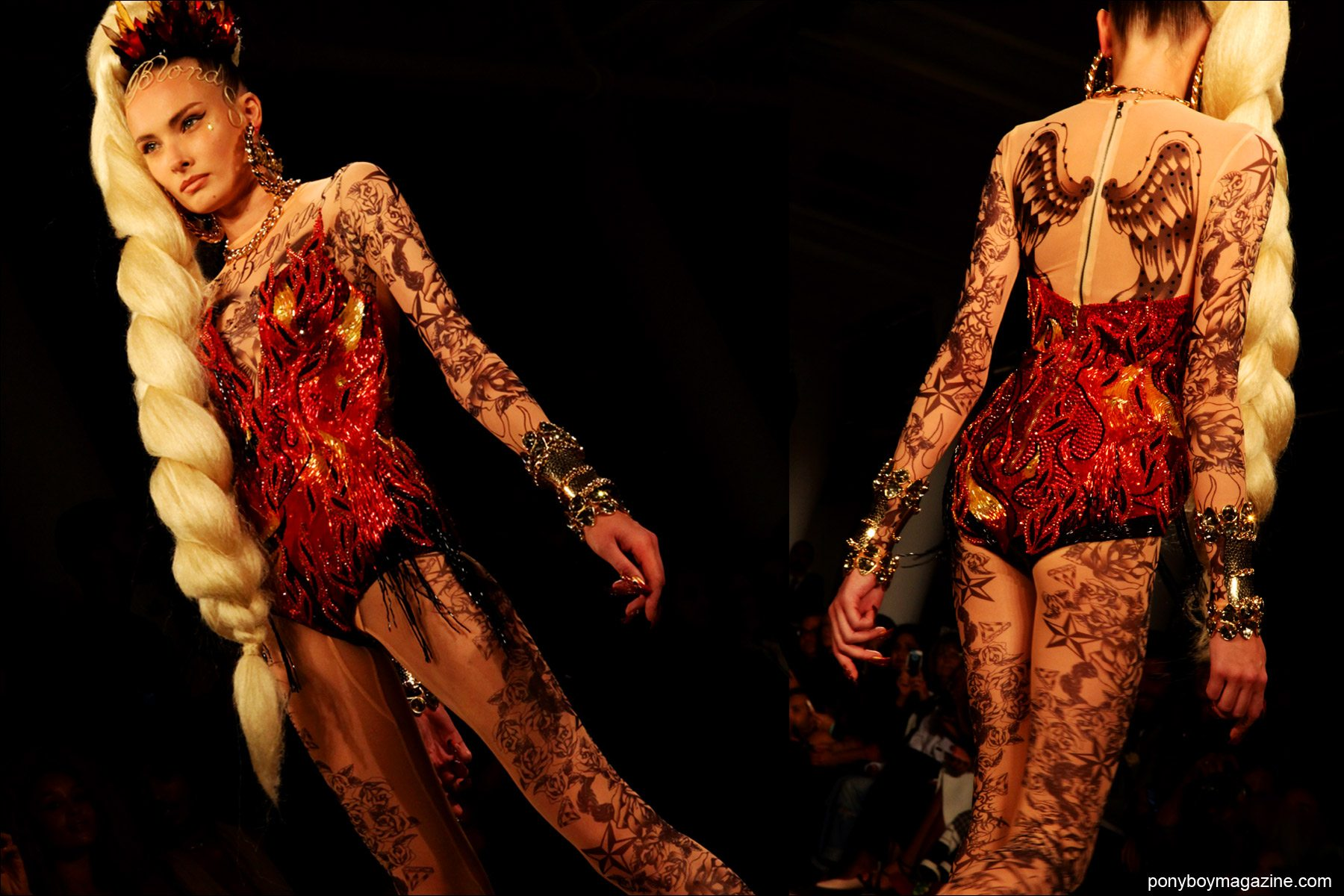 A tattoed bodysuit created by The Blonds NY, shown during New York Fashion Week at Milk Studios. Photos by Alexander Thompson for Ponyboy Magazine.