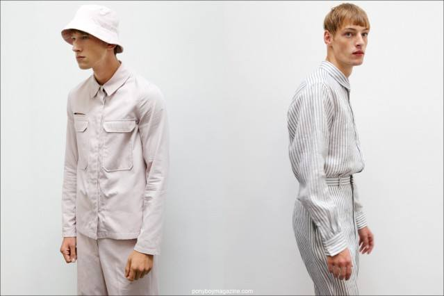 Male models Botond Cseke and Roberto Sipos wearing the latest menswear designs from Duckie Brown, S/S15. Photos taken by Alexander Thompson for Ponyboy Magazine in New York City.