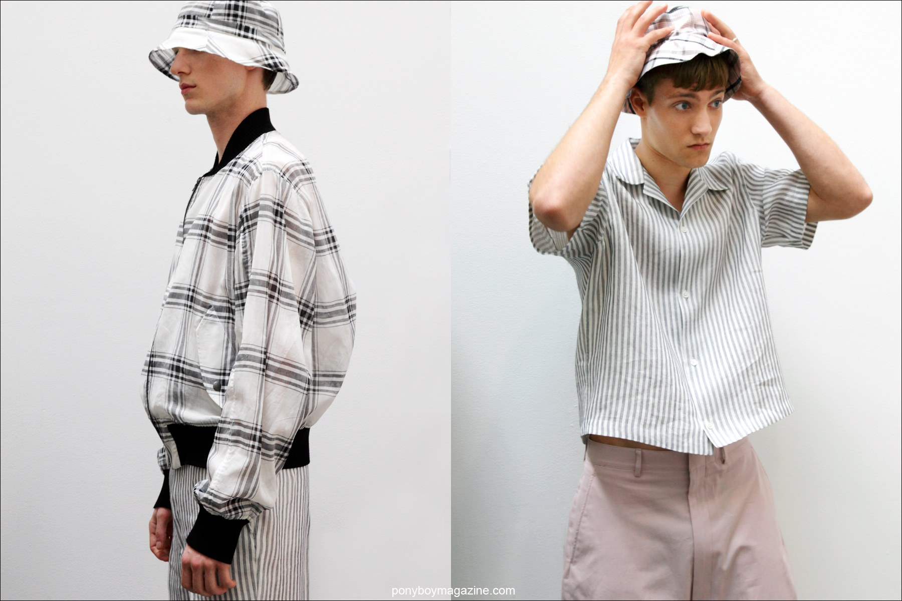 Male models in plaid bucket hats and spring clothing, designed by New York label Duckie Brown S/S15. Photos by Alexander Thompson for Ponyboy Magazine.